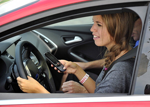 Katelyn Smith, Senior, experiences the dange of texting while driving as Scarborough High School St